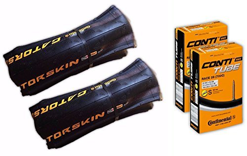 Continental Gatorskin 700x28 Road Bicycle Tire Tube COMBO (2 Tires & 2 Continental 60mm Presta Valve Tubes)