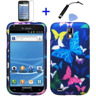 (4 items Combo: Stylus Pen, Screen Protector Film, Case Opener, Graphic Case) Purple Pink Green Yellow Blue Multi Color Butterfly Design Rubberized Snap on Hard Shell Cover Faceplate Skin Phone Case for (T-Mobile) Samsung Galaxy S2 / SII/ II/ 2 / T989 (Purple Rubberized Hard Faceplate)
