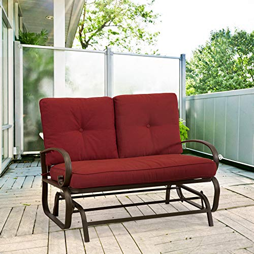 Homevibes Outdoor Glider Porch Glider Patio Bench Loveseat Furniture Rocker Wrought Iron Outside Chair Swing 2 Seats Lounge Cushions, Brick (Two Seat Lounge Bench)