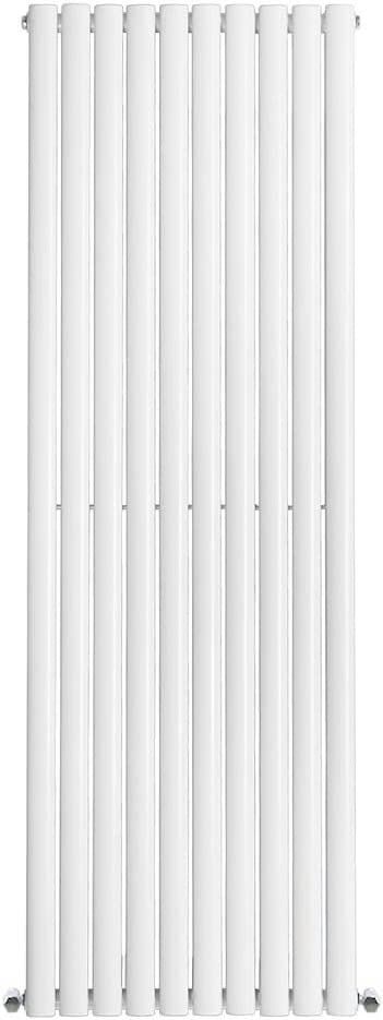 1600 x 240 mm Living Room Kitchen Vertical Column Designer Radiator White Double Oval Flat Panel Perfect for Bathrooms Modern Central Heating Space Saving Radiators Hallway