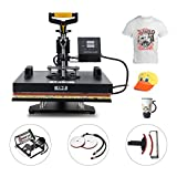 CO-Z 5 in 1 15'' X 15'' Heat Press 360 Degree Swivel Heat Press Machine Multifunction Sublimation Combo T Shirt Press Machine for Mug Hat Plate Cap Mouse Pad Dual Displays 1400W (5 in 1)
