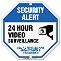 """24 Hour Video Surveillance Sign, Security Camera Sign Warning For CCTV Recording System, Octagon Shaped Outdoor Rust-Free Metal, 12"""" x 12"""" - By My Sign Center, A90-317AL"""