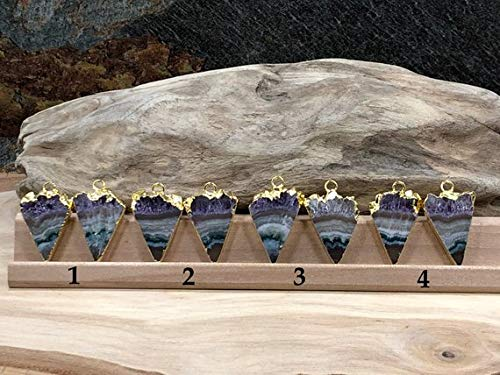 hongnguyen Amethyst Slice Pair, Amethyst Triangle Slice Pair, Free Form Druzy Agate Pair, 18K Gold Plated Pendant, Amethyst Earring Pair, ()