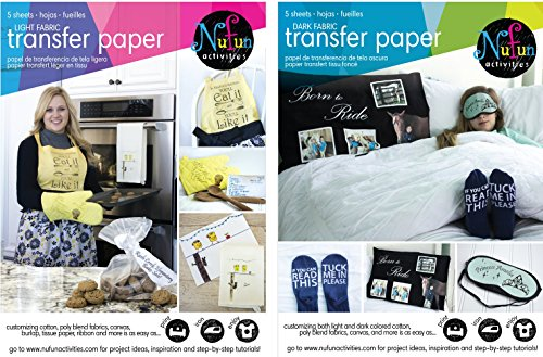 NuFun Activities Inkjet Printable Iron-On Heat Transfer Paper, Light and Dark Combo Pack, 8.5 x 11 inch, 25 Sheets Light/25 Sheets Dark ()