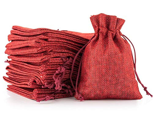 24PCS Small Burlap Jute Drawstring Pouch Ring Jewelry Trinket Beads Storage Bag, DIY Craft Candy Gift Bags for Wedding,Thanksgiving,Advents Calendar,Christmas Party Favors (red)