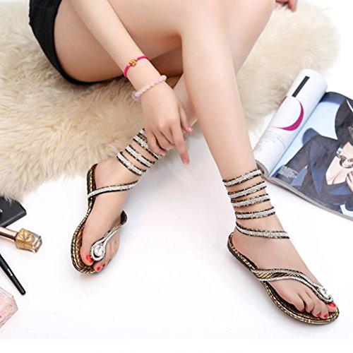 Flip Womens Schuhe Strappy Sandalen Flops Abendgesellschaft Gold Nachtclub Casual Schuhe Ankle Flachen Strap Tägliche Damen EqrqZWRaFw