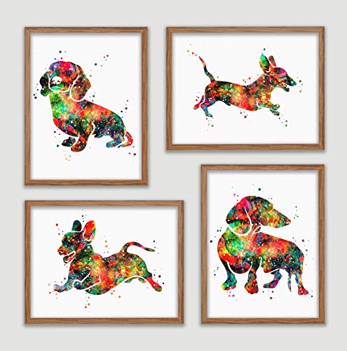 (Dachshund Watercolor Poster Set Dog Art Prints Weiner Doxie Dachshund Wall Decor Artworks Sausage Dog Wall Art Dining Room Art Wall Hanging House Warming Gift for Dog Lover)