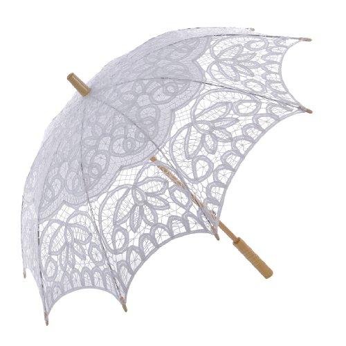 Topwedding Women's Cotton Lace Parasol With A Longerod Post - Umbrella Victorian