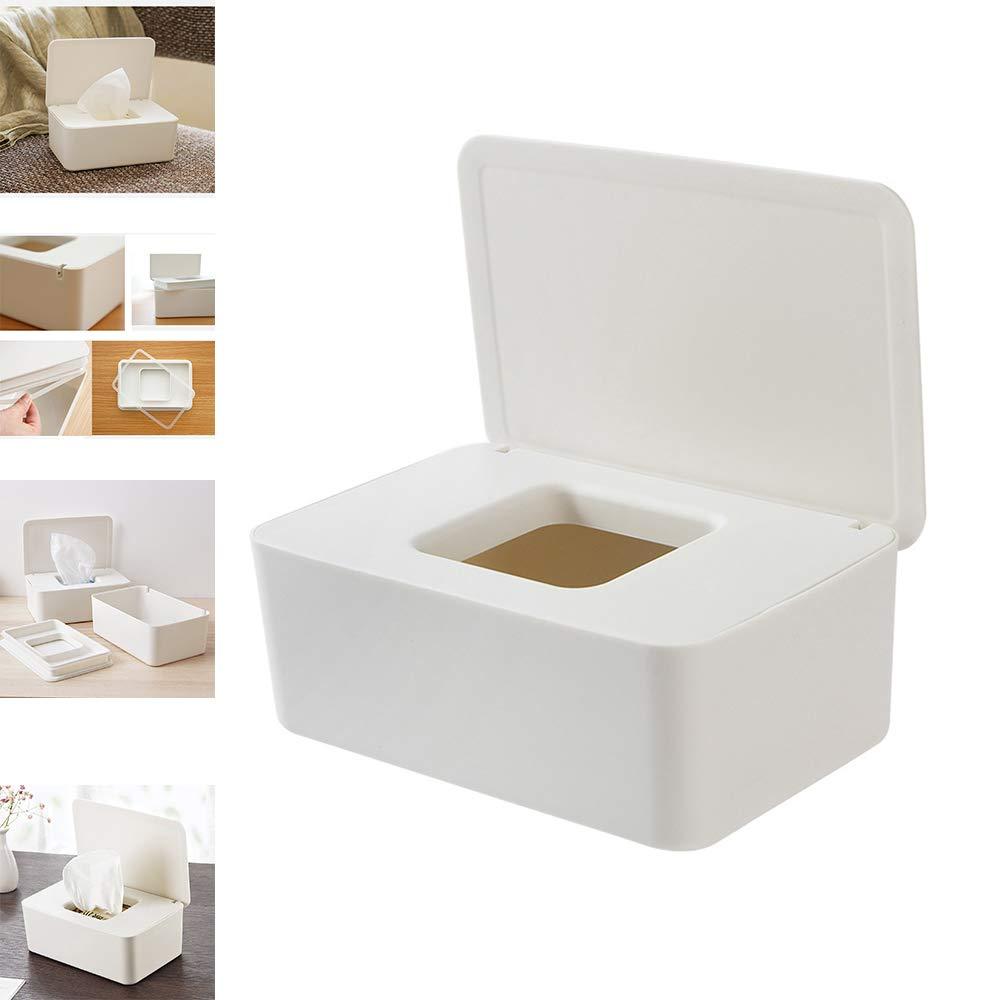 Aufbewahrungsbox Mit Deckel F/ür Home Baby und Office Wei/ß Baby Pfleget/ücher-Boxen IQOAIJ Kunststoff Feuchtt/ücher Box Aufbewahrungskoffer Feuchtt/ücherbox