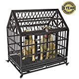 Gelinzon Heavy Duty Dog Cage Crate Kennel Playpen Large Strong Roof for Large Dogs Cats Pets with Patent Lock, Tray Four Wheels, 42''