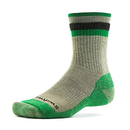 (Swiftwick- PURSUIT HIKE SIX- MD | Socks Built for Hiking | Merino Wool, Full Cushion Crew Socks | Khaki/Green, Large)