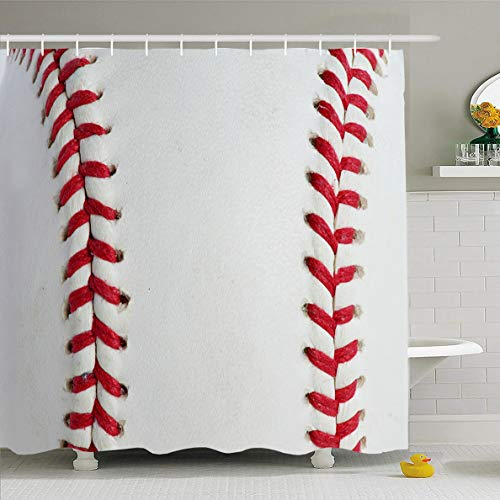 (Ahawoso Shower Curtain 72x72 Inches Seam Brown Ball Red Stitching Baseball Sports Dirty Recreation Border Abstract American Circle Close Waterproof Polyester Fabric Set with Hooks)