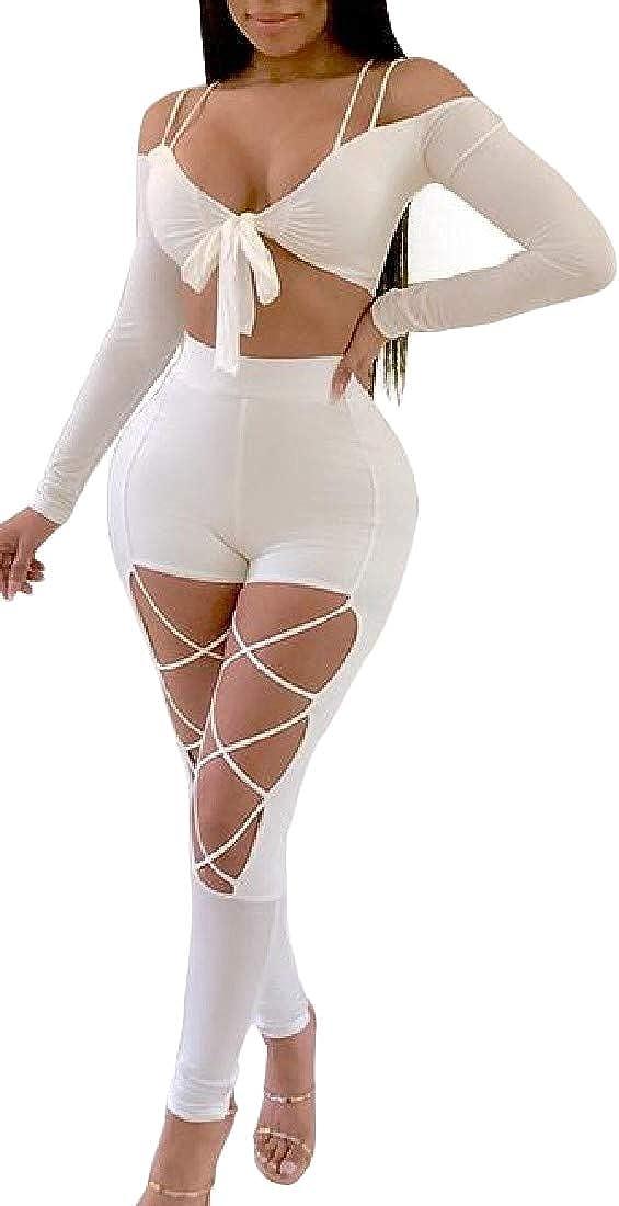 Etecredpow Women Spaghetti Strap 2 Piece Skinny Irregular Bandage Jumpsuits