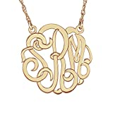Monogram 14 Karat Rose Gold 25mm Hi Polish Script Personalized Necklace