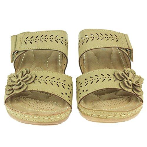 Mujer Señoras Flor Correa doble ajustable Suela Confort Casual Ponerse Tacón de cuña Sandalias Zapatos Tamaño Beige