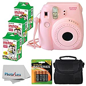 Fujifilm Instax Mini 8 Instant Film Camera (Pink) With Fujifilm Instax Mini 6 Pack Instant Film (60 Shots) + Compact Bag Case + Batteries Top Kit - International Version (No Warranty)