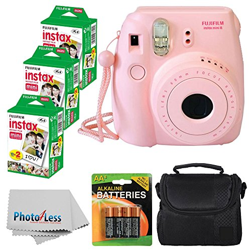 Fujifilm Instax Mini 8 Instant Film Camera (Pink) Fujifilm Instax Mini 6 Pack Instant Film (60 Shots) + Compact Bag Case + Batteries Top Kit