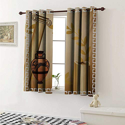 - shenglv Toga Party Drapes for Living Room Antique Greek Columns Vase Olive Branch Hellenic Heritage Icons Curtains Kitchen Window W96 x L72 Inch Pale Brown Cinnamon White