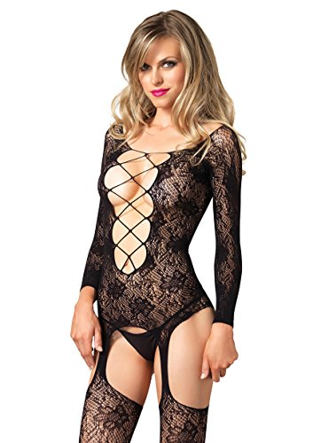 Leg Avenue Women's Floral Lace Long Sleeve Suspender Bodystocking with Deep-V, Black, One Size ()