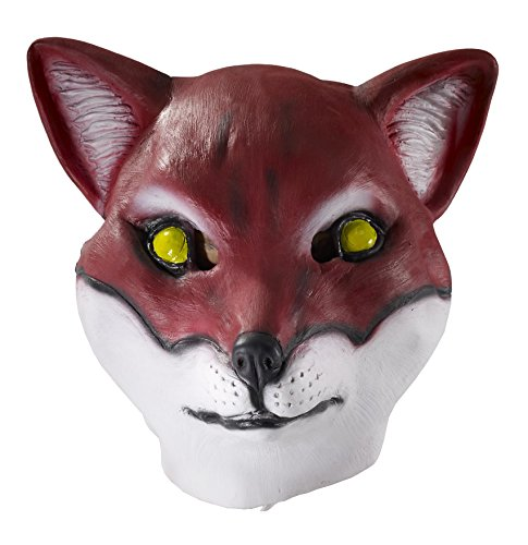 Doe Costumes (Forum Novelties Men's Deluxe Adult Latex Red Fox Mask, Multi Colored, One Size)