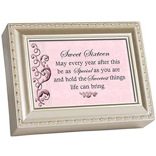 Cottage Garden Sweet Sixteen Champagne Silver Traditional Music Box Plays You Light Up My Life]()