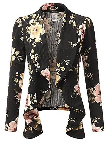 Doublju Classic Draped Open Front Blazer For Women With Plus Size BLACK MEDIUM (Office Coat)