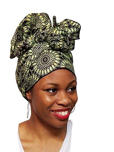 Light-Green-African-Print-Ankara-Head-wrap-Tie-scarf-Multicolor-One-Size