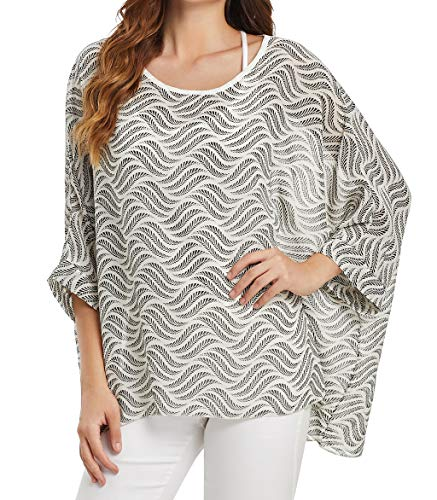 - Women's Loose Batwing Sleeve Blouse Chiffon Top Floral Printed Poncho Tunic Caftan Cover up