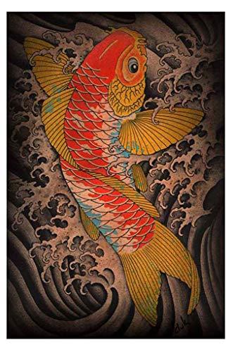 Fortunet Koi Clark North Framed Art Print Tattoo Artist Japanese Asian Fish Pond (Best Koi Fish Tattoo Artist)