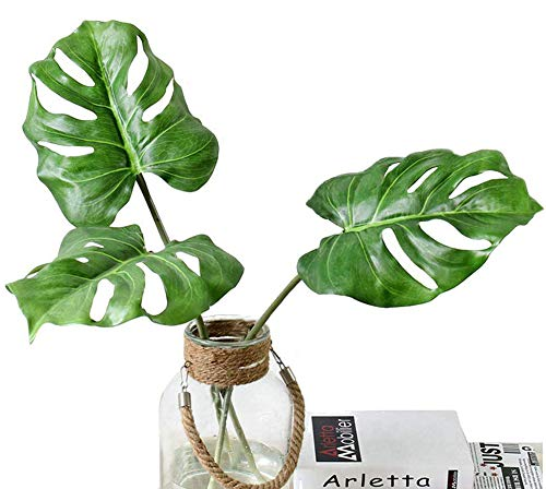 Ahvoler 3 Pcs Large Artificial Tropical Monstera Palm Tree Leaves for Home Decorations, 30