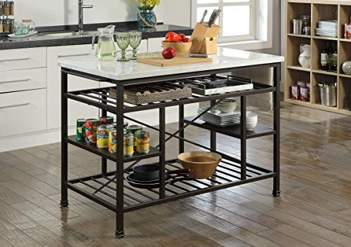 Kitchen ACME Furniture Lanzo Kitchen Island, Marble and Gunmetal modern kitchen islands and carts