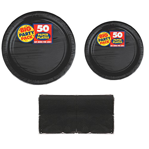 Serves 50 | Big Party Pack Black 50-Set (Dinner Plates, Dessert Plates, Luncheon Napkins) Party Avenue Bundle-Pack | Complete Party Pack | Graduation parties, Office parties, Birthday parties, Festivals, Black Theme -