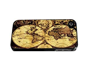 Tan and Black Vintage Map Hard Snap on Phone Case (iPhone 5/5s)