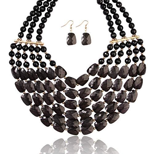 RIAH FASHION Popular Faceted Acrylic Jewel Bead Statement Necklace Set - Bold Multi-Layered Beaded Bib Collar for Women (Black) ()
