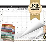 Oriday 2018-2019 Monthly Yearly Desk Calendar, Wall Calendar + 2 Sets of Stickers - to-Do List Notepad (15Months - October2018 to December 2019, 22'' x 17'', Academic)