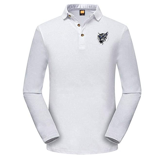 Moda 2018 Otoño Blusa Tops de Delgada Ocasional Hombres Camiseta del Bordado de Manga Larga Slim