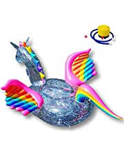 Giant Pegasus Unicorn Zwembad Drijft Druifers Opblaasbare Zwemmen Ring Drijvende Eiland Pailletten Ride-On Pool Lounger Pool Rafts Foot Pump