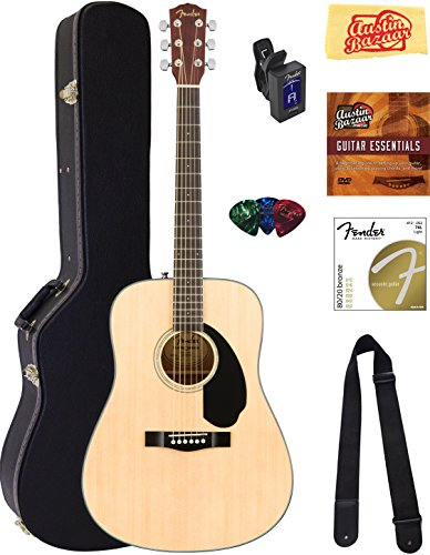 Fender CD-60S Dreadnought Acoustic Guitar - Natural Bundle with Hard Case, Tuner, Strap, Strings, Picks, Instructional DVD, Polishing Cloth