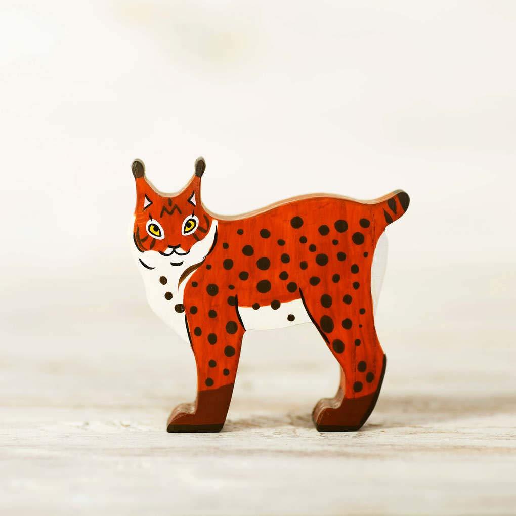 Wooden Bobcat toy Lynx figurine Polar animal toy