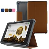 JUNYI Amazon Fire 7 2017 Case,PU Leather Folding Folio Case Automatic Sleep and Wake-up, 7th Generation Fire 7 Case, Functional Shockproof Anti-Scratch Protective Folding Stand Shell Cover Case(Cof)
