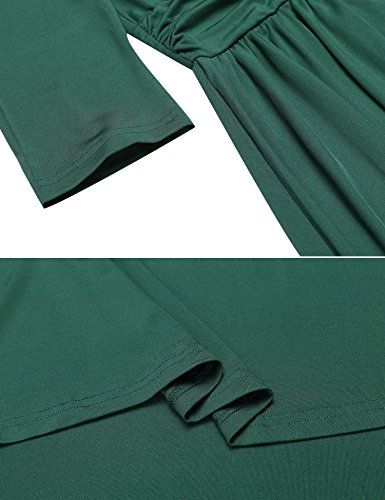 Vintage Solid 3 4 Ruched Long Pleated Dress V Green Sleeve Neck AL'OFA Waist Women Swing fqzTwT