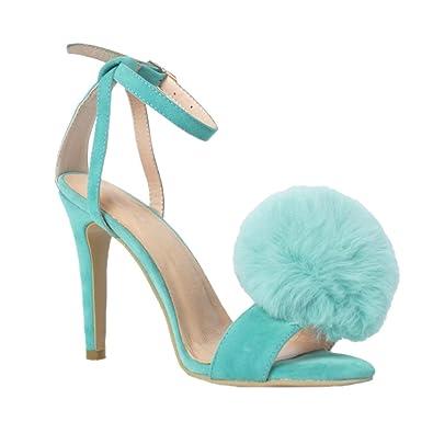 Kolnoo Damen Handgefertigte Fell Ball Deco High Heel Sommer Sexy Sandalen Schuhe