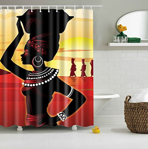 Oriental Pearl 3D Vivid African Woman Shower Curtain Bathroom Accessories Set with Hooks 180cm x 180cm
