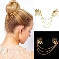 Womens Fashion Gold Metal Tassel Leaf Comb Cuff Chain Jewelry Headband Hair Band