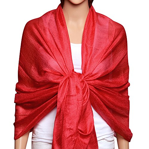 Womens Large Soft Bridal Evening Party Dress Wraps Scarfs Shawls Tomato Red