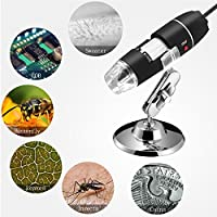 Jiusion 40 to 1000x Magnification Endoscope, 2MP 8 LED USB 2.0 Digital Microscope, Mini Camera with OTG Adapter and Metal Stand, Compatible with Mac Window 7 8 10 Android Linux from Jiusion