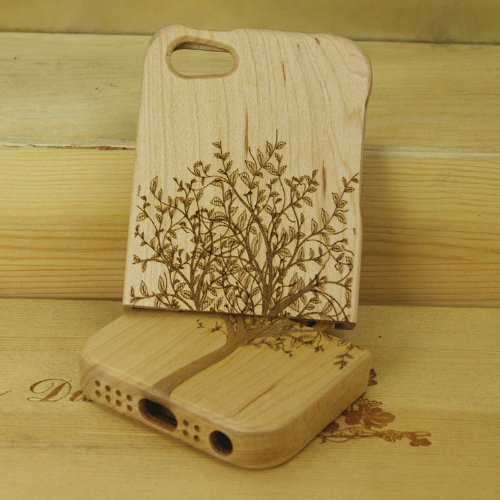 SunSmart Cubierta de la caja de madera hecha a mano Unique Natural de madera duro para el iPhone 5 5S (secoya) arce-árbol