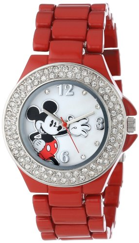 Enamel Watch Bracelet (Disney Women's MK2071 Mickey Mouse Red Enamel Bracelet Watch)