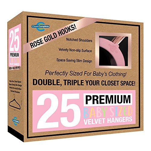 Closet Complete Baby Velvet Hangers, Premium Quality, True-Heavyweight, Virtually-UNBREAKABLE, Ultra-Thin Space Saving No-Slip, Perfect Size for Baby 0-48 months 360° SPIN, ROSE GOLD Hooks, PINK, 25pc Baby Pink Roses