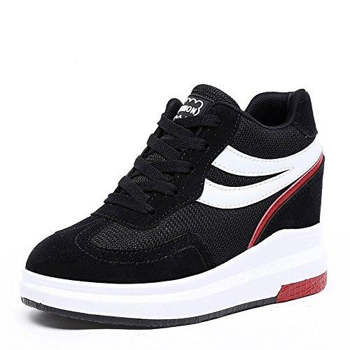 CYBLING Hidden Mid Heel Platform Wedge Sneaker For Women Casual Mid Top Walking Shoes Black Ze8Pqa